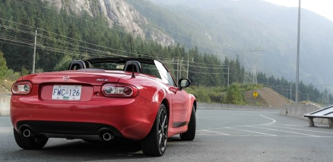 Rear end of Miata on Sea to Sky Highway