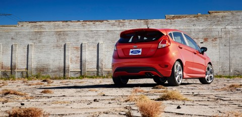 2014 Ford Fiesta Rearview, red